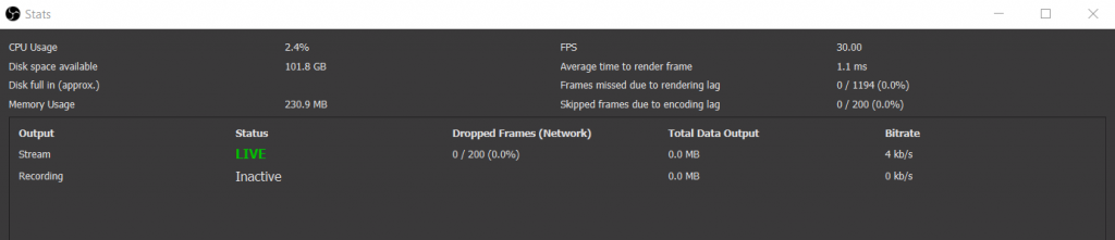 OBS View Stats Panel